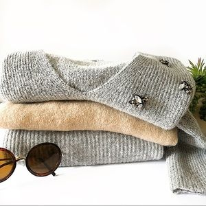 Lot of 3 Sweaters Studded Crop Mock Neck Wool Grey